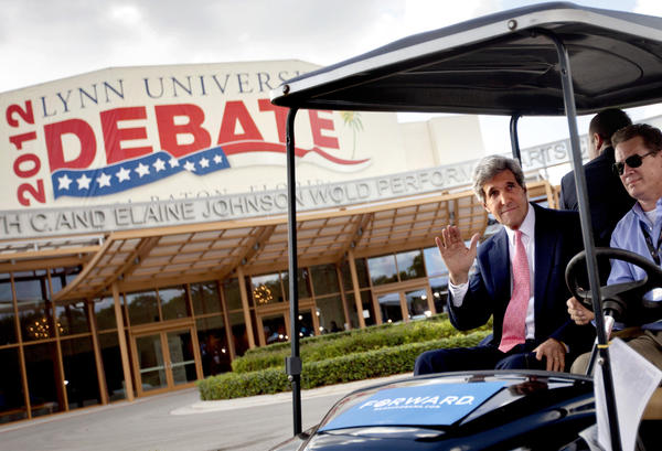 Sen. John F. Kerry (D-Mass.) before Monday night's presidential debate at Lynn University in Boca Raton, Fla.