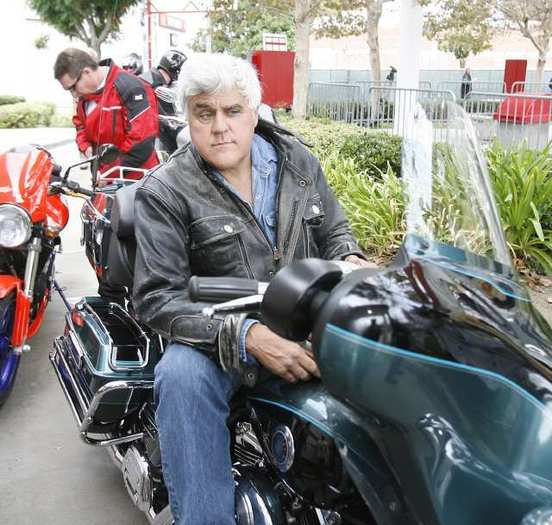 Jay Leno waits to depart for the 29th annual Love Ride where about 4,000 motorcyclists, mostly on Harley Davidson's, gathered for a USO fundraiser that will conclude in Castaic on Sunday, October 21, 2012. (Tim Berger/Staff Photographer)