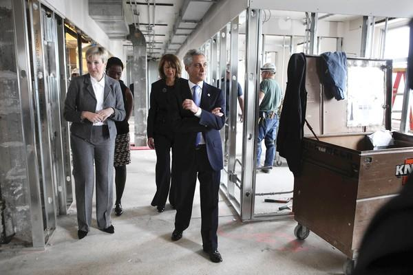 In January, Mayor Rahm Emanuel tours new university offices at Resurrection Hospital in Chicago with, from left, Dr. Beth Brooks, president of Resurrection University, Carole Brown, head of the city's TIF reform task force, and Sandra Bruce, president and CEO of Presence Health.