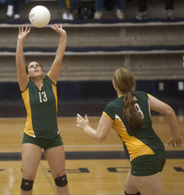Emmaus' Lisa Wallitsch (13) sets for Erin Stanton (28) against Bethlehem Catholic in the Lehigh Valley Conference girls volleyball semifinals at Liberty.