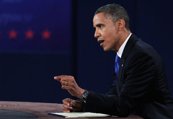 President Obama debates Republican Mitt Romney at Lynn University in Boca Raton, Fla.