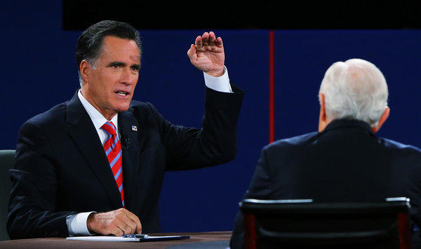 Republican presidential candidate Mitt Romney speaks during a debate with President Obama at Lynn University in Boca Raton, Fla.
