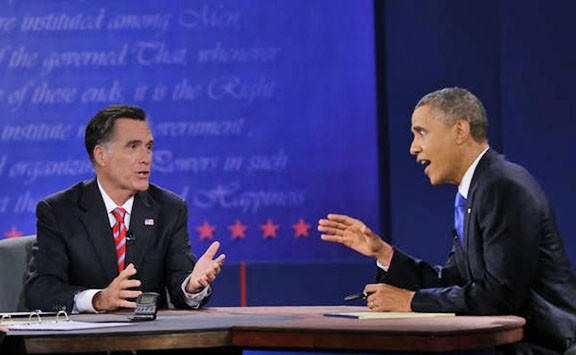 President Obama, right, and Republican presidential nominee Mitt Romney discuss a point Monday during the third presidential debate at Lynn University in Boca Raton, Fla.
