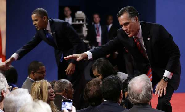 Presidential debate 2012: President Obama and Mitt Romney greet audience members at Lynn University in Boca Raton, Fla., after the debate.