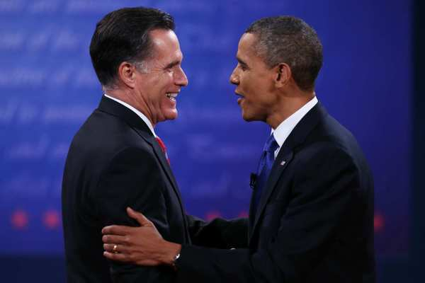 Republican candidate Mitt Romney and President Obama shake hands after their third and final presidential debate.