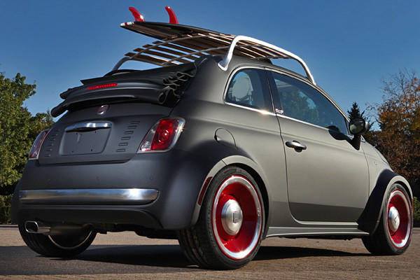 Fiat 500 Beach Cruiser: Fiat will show off a heavily-modified 500 convertible concept that would be right at home heading to the beaches of Southern California. This concept has a body that's been widened by a foot, onto which the company then added a prototype Mopar hood, rear deck lid, and aluminum wheels. A Mopar surfboard rack sits atop the car and the car gets mechanical upgrades like a Mopar cold-air intake and exhaust.