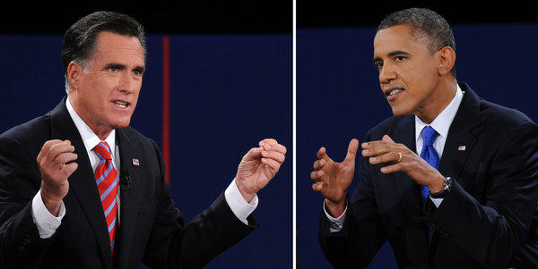 President Barack Obama, right, and Republican presidential candidate Mitt Romney participate in the third and final presidential debate at Lynn University in Boca Raton, Fla.