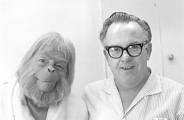 "Makeup artist John Chambers with actor Maurice Evans from ""The Planet of the Apes."""