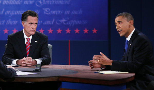 President Obama, right, debates with Republican presidential candidate Mitt Romney at Lynn University in Boca Raton, Florida.