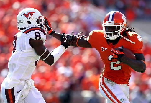 Clemson's Sammy Watkins appeared to lose a fumble against Tech, but officials called him down