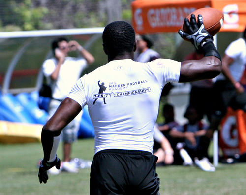 Bushnell South Sumter safety Keanu Neal shows off an interception during the IMG Madden 7-on-7 Championships in Bradenton.