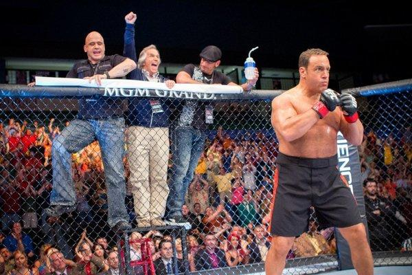 "From left to right, Bas Rutten, Henry Winkler, Mark DellaGrotte and Kevin James in a scene from the film ""Here Comes the Boom."""