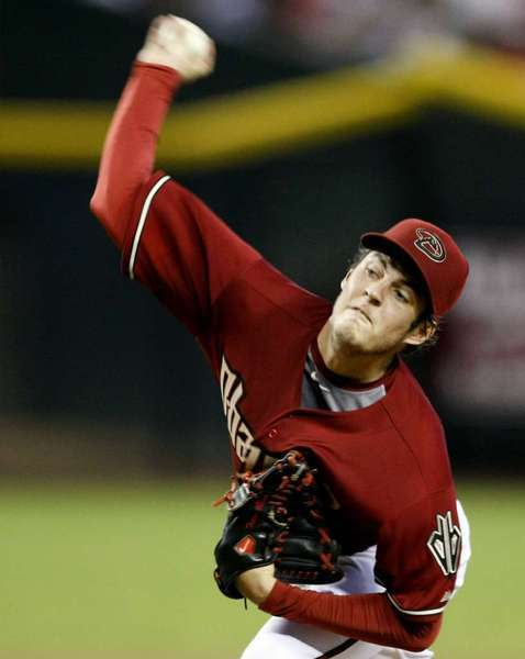 Arizona Diamondbacks pitcher Trevor Bauer pitching against the Dodgers in July.