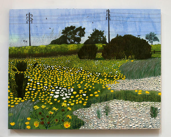 "Cole Case, ""Ballona Flowers,"" 2012, oil on canvas over panel, 35 x 45 inches."