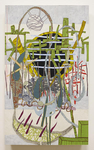 """Laura Sharp Wilson's """"The Women's Relief Society Absorbs Toxins,"""" 2010, acrylic and graphite on Unryu paper mounted on wood panel, 24-1/4 x 14-1/4 inches."""