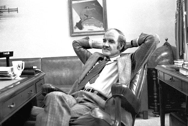 George McGovern, show in 1975, lost the presidential race in 1972 to Richard M. Nixon.
