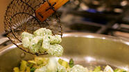Herbed ricotta gnocchi add heft to a spring vegetable stew.