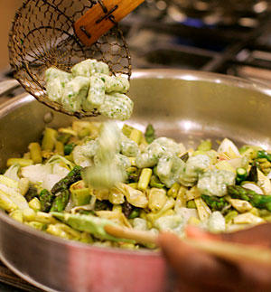 <b>MAIN DISH:</b> Herbed ricotta gnocchi add heft to a spring vegetable stew.