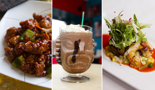 General Tso's chicken at Homestyle Taste, coconut-mocha frappuccino at Jackalope Coffee & Tea House and pan-seared shrimp at Oliver's Cafe
