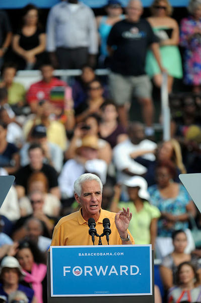Former Florida Governor Charlie Crist stumps for  President Barack Obama  during a campaign event in Delray Beach Tuesday, the morning after the third and final Presidential Debate held at Lynn University in Boca Raton.