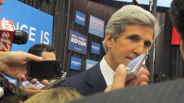 U.S. Sen. John Kerry, D-Mass., was in Spin Alley for a long time