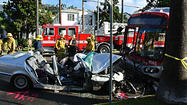 HOLLYWOOD, Calif. (KTLA) -- More than two dozen people were taken to the hosptial after a crash involving a dump truck, an MTA bus and a BMW in Hollywood Tuesday morning.