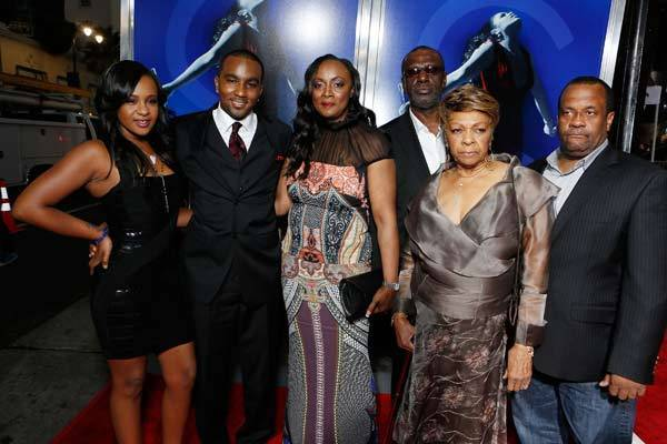 Bobbi Kristina Brown, Nick Gordon, Pat Houston, Gary Houston, Cissy Houston, and Michael Houston at TriStar Pictures 'Sparkle' Premiere held at Grauman's Chinese Theatre