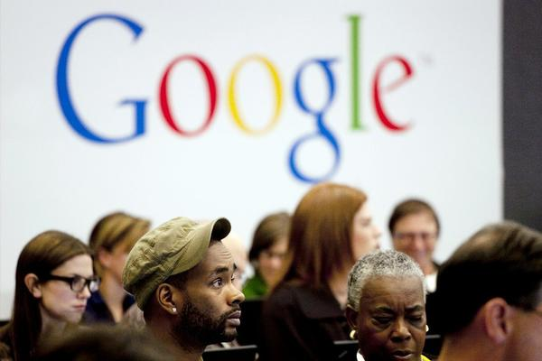 "People attend a workshop, ""New York Get Your Business Online,"" at Google offices in New York."