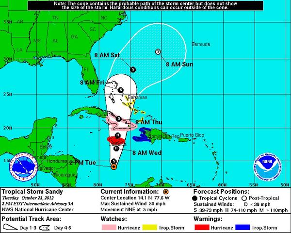 Tropical Storm Sandy could become a hurricane before striking Jamaica and Cuba, according to the National Hurricane Center.
