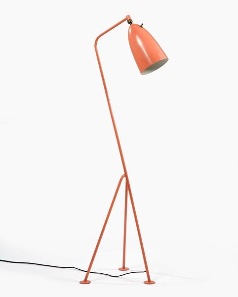 "Grossman's three-legged Grasshopper lamp, produced in the late 1940s, was an elegant alternative to floor lamps with heavy bases. The designer painted the whimsical light in a coral pink, a color that would become popular in the 1950s. Gubi, a Danish manufacturer, is producing authentic reproductions, and versions in five colors are sold through <a href=""http://www.dwr.com/product/grasshopper-floor-lamp.do?sortby=ourPicks"">Design Within Reach</a>."