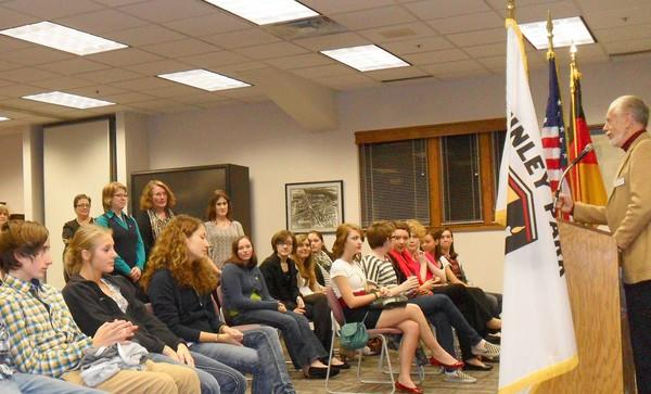 Tinley Park Sister Cities Commission Chairman Randy Tietz talks to students and teachers from Budingen, Germany, and students, teachers and administrators from Andrew High School last week during a special reception at the Tinley Park Municipal Building.
