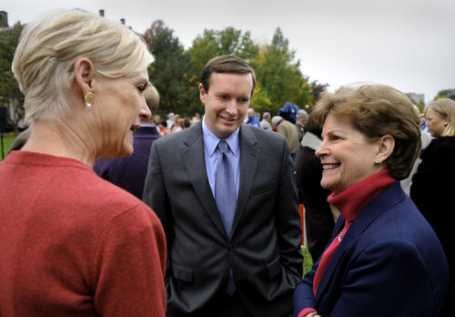 U.S. Rep. Chris Murphy, a candidate for U.S. senate, greets Cecille Richards, President of Planned Parenthood Action Fund, left, and Sen. Jeanne Shaheen (D-NH) at the Women For Murphy campaign rally at Bushnell Park Tuesday afternoon.