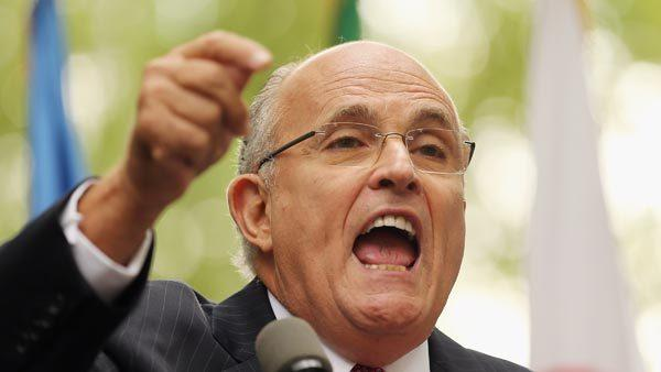NEW YORK, NY - SEPTEMBER 26: Former New York Mayor Rudolph Giuliani speaks to the media at a rally of groups opposing Iranian President's speech at the United Nations General Assembly in New York City.