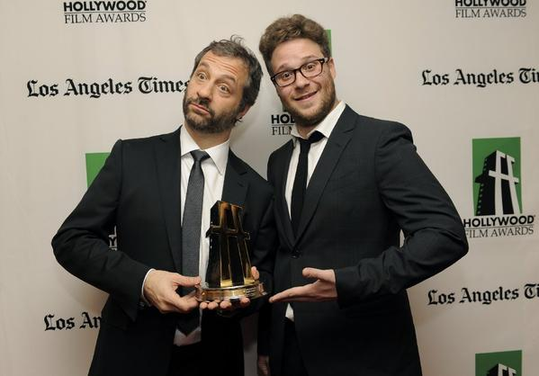 Judd Apatow and Seth Rogen backstage at the Hollywood Film Awards.
