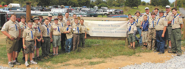 Williamsport Boy Scout Troop 17 volunteered with the National Park Service during the 150th anniversary of the Battle of Antietam. The Scouts helped with parking for the many visitors to the event. Front row, from left, Brandon Noll, Chris Lunsford, Colten Matheny, Colton Shirley, Justin Bowers, Joe Werder, Garrett Landman, Brandon Dillmen, Alex Werder, Liam Clark and Seth Funk. Back row, Brian Hout, Dylan Hutson, Zach Boger, Ralph Young, Randy Shirley, Matt Landman, Chris Werder, Matt Boger, Michael Werder, Scoutmaster Jeff Boger, Terry Hammond, Kurt Noll and Gabe Hall. Missing from the picture is Karl Werder.