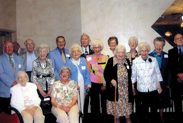 Row one, from left, Hope Showe Shrader and Jayne Fernsner Sterling. Second row, Harold Schleigh, Jean Scheller Holyday, Doris Harp Miller, Marcia Hart Baumgardner, Hilda Stoner and Ann Rogers Miller. Row three, Paul Wolfensberger, John Elias, Bob Hyssong, Wilda Reed Merckle, Juanita Trovinger Moats, Mary Black Stains and Gilbert Everline.
