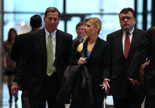 Karolina Obrycka (center) leaves court following testimony in the federal civil trial against former Chicago police Officer Anthony Abbate and the City of Chicago alleging an attempted cover up following a 2007 attack on Obrycka by Abbate.