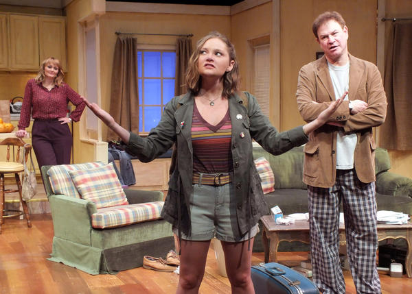 "An unexpected reunion with his daughter (Genevieve Joy, center) spells screwball trouble for a narcissistic screenwriter (Robert Wuhl) and his girlfriend (Kelly Hare) in Neil Simon's dramatic comedy, ""I Ought to Be in Pictures."""