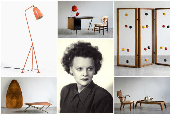 With appreciation growing among collectors and curators, Greta Magnusson Grossman has climbed into the top tier of Midcentury Modern designers. Grossman, pictured circa 1943, was the creator of, clockwise from bottom left: the Ironing Board coffee table, the Grasshopper lamp, a 62 Series desk that seems to float, a quirky room screen and the ceramic work atop the coffee table -- a reminder that she was a multifaceted creative force.