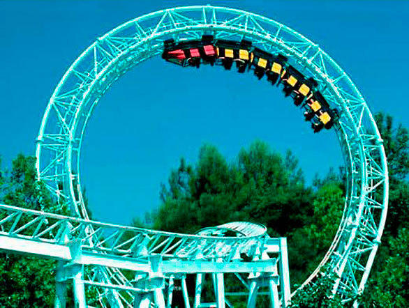 Revolution, the first modern vertical looping coaster, opened in 1976 at Six Flags Magic Mountain in Valencia.