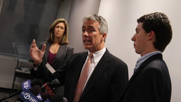 Congressman Joe Walsh (center) and his son Joey, 24, right, speak on Tuesday, Oct. 23, 2012 at a press conference in Chicago. He was responding to recent ads by his challenger Tammy Duckworth. In backround is Walsh's wife Helene.