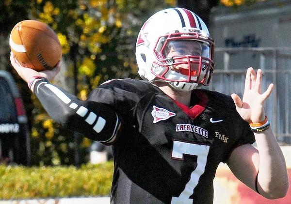 Lafayette's quarterback Andrew Shoop (7) looks to throw during their football game with Holy Cross.