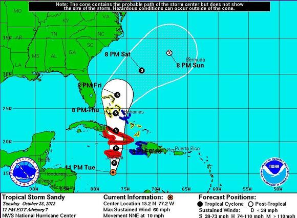 Tropical Storm Sandy strengthens