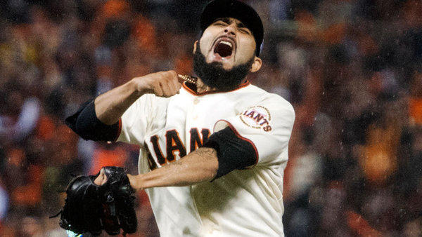 San Francsico Giants' Sergio Romo celebrates after the Giants won the National League Championship Series on Monday. The Brawley native, along with the Giants, will face the Detroit Tigers in game 1 of the World Series tonight in San Francisco.