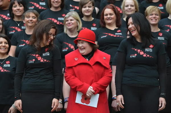 Susan Boyle and the Scottish Military Wives choir launch the Poppy Scotland appeal on October 24, 2012 in Glasgow,Scotland. Susan Boyle joined members of the Scottish military wives choir to launch the 2012 Scottish Poppy Appeal, calling for help to raise vital funds for Scotlandâ¿¿s Armed Forces community during the November campaign.