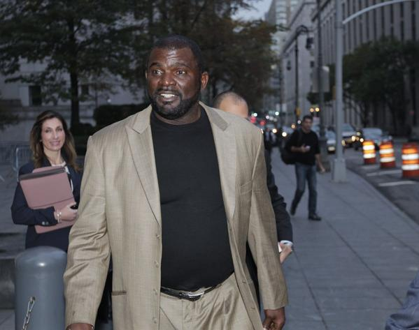 Former New York Giants linebacker Lawrence Taylor leaves federal court Tuesday.
