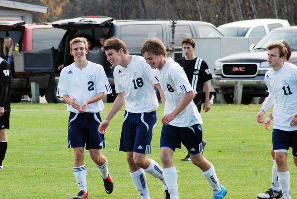 Petoskey senior Louis Lamberti (18) had a pair of goals Tuesday as the Northmen defeated Goodrich, 4-1, in a Division II regional semifinal at Midland High School. The Northmen will face East Lansing in a regional final game at 5 p.m. Saturday, Oct. 27, in Midland.