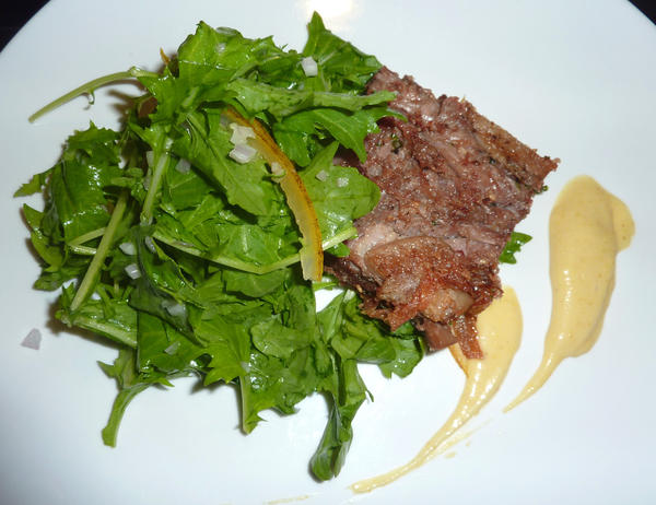 Duck Confit Salad with candied sour orange and mizuna