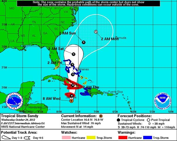 Tropical Storm Sandy was expected to reach hurricane force Wednesday, and some models predict it will head up the East Coast early next week.