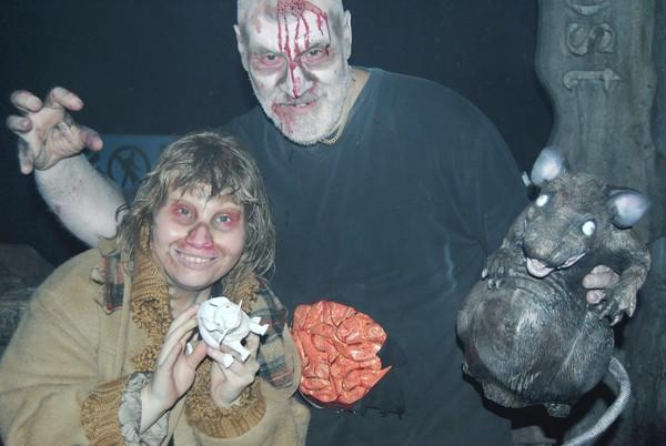 Laura and Louis Schutz as zombies at Morton Grove's Fear City haunted house.